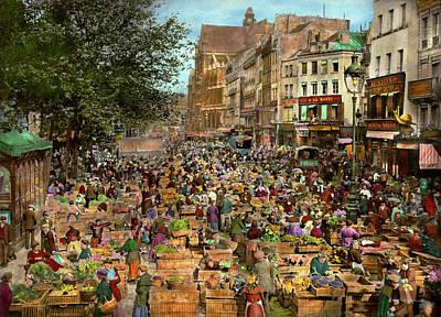 Food Photograph - City - France - Les Halles De Paris 1920 by Mike Savad