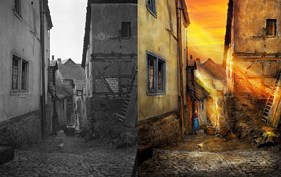 City - Germany - Alley - The Farmers Wife 1904 - Side By Side Print by Mike Savad