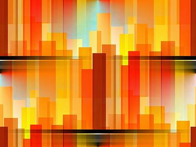 Abstract Digital Art - City Heights by Kathleen Sartoris