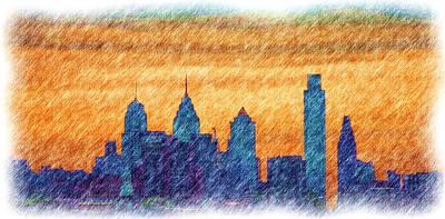 City In Pencil Print by Thomas  MacPherson Jr