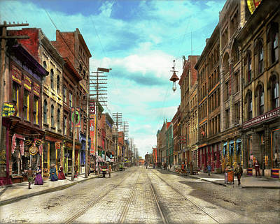 City - Knoxville Tn - Gay Street 1903 Print by Mike Savad