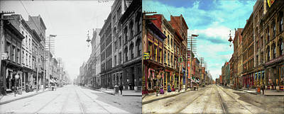 City - Knoxville Tn - Gay Street 1903 - Side By Side Print by Mike Savad