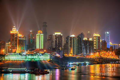 City Lights Of Chongqing Skyline Print by Fototrav Print