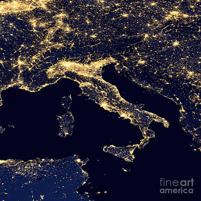 Map Of Italy Digital Art - City Lights Of Italy. by Mohamed Elkhamisy