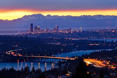 Seattle Skyline Photograph - City Lights by Thorsten Scheuermann