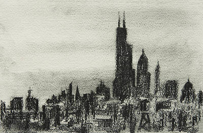Sears Tower Drawing - City Love I by Rachel Christine Nowicki
