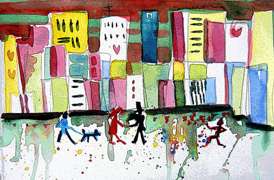 Abstract Hearts Drawing - City Love by Mindy Newman