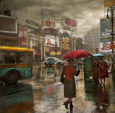 City - Ny - Times Square On A Rainy Day 1943 Print by Mike Savad