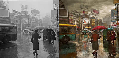 Time Photograph - City - Ny - Times Square On A Rainy Day 1943 Side By Side by Mike Savad