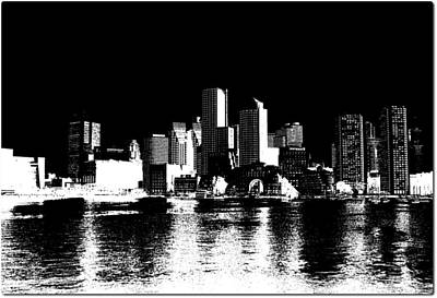 Ben Affleck Digital Art - City Of Boston Skyline   by Enki Art