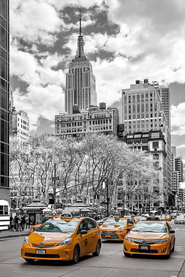 Black And White Photograph - City Of Cabs by Az Jackson