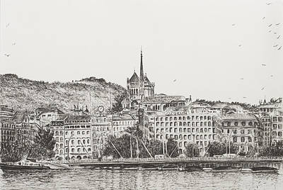 Old Town Drawing - City Of Geneva by Vincent Alexander Booth
