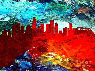Los Angeles Skyline Mixed Media - City Of Los Angeles Grunge by Daniel Janda