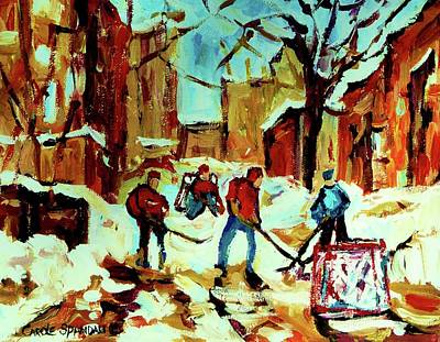 Street Hockey Painting - City Of Montreal Hockey Our National Pastime by Carole Spandau