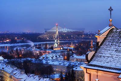 City Of Warsaw Winter Evening Cityscape Print by Artur Bogacki