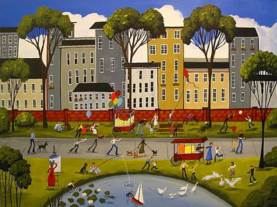 Balloon Vendor Painting - City Park by Debbie Criswell