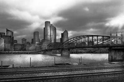 Black Commerce Photograph - City - Pittsburgh Pa - Smithfield Bridge Bw by Mike Savad