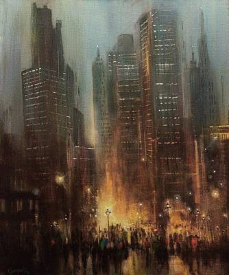City At Night Painting - City Rain by Tom Shropshire