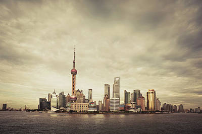 City Skyline At Sunset, Shanghai, China Print by Yiu Yu Hoi
