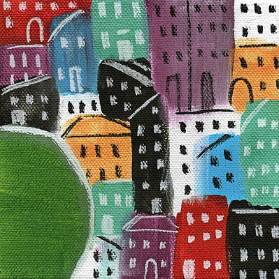 City Stories- By The Park Print by Linda Woods