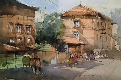 City Street Art  Print by Nitin Singh