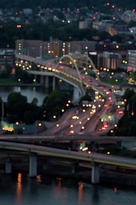 Photograph - City Street Lights Abstract Pittsburgh Pa by Terry DeLuco