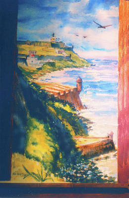 Decoraci Painting - City Wall And Sentry Boxes  San Juan Puerto Rico by Estela Robles