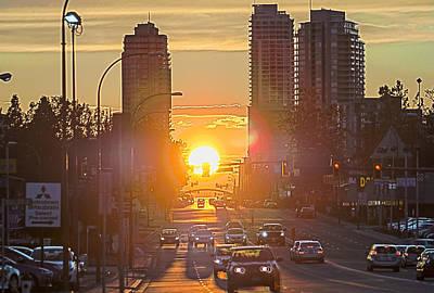 Cityscape - Big Amber Traffic Light - Sunset Original by Arthur Babiarz