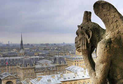 Gargoyle Photograph - Cityscape From Notre Dame, Paris by Zens photo