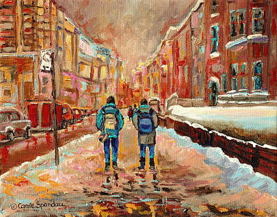 Montreal Winter Scenes Painting - Cityscape In Winter by Carole Spandau