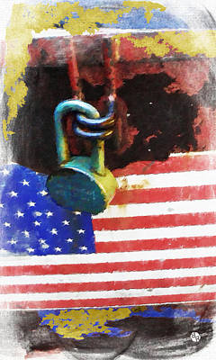 Patriotic Painting - Civil Rights And Wrongs Home Land Security Flag And Lock 1 by Tony Rubino