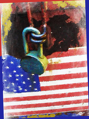 Patriotic Painting - Civil Rights And Wrongs Home Land Security Flag And Lock 2 by Tony Rubino