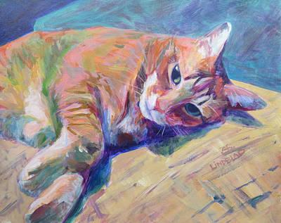 Domestic Short Hair Cat Painting - Cj The Blonde Tabbie Cat by Sandy Lindblad