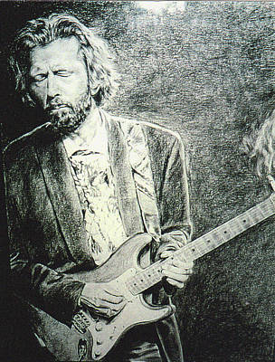 Eric Clapton Drawing - Clapton by Mary Anne Hjelmfelt