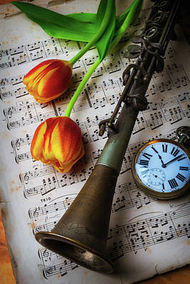 Brass Leafs Photograph - Clarinet And Tulips by Garry Gay