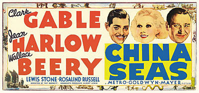 Clark Gable And Jean Harlow In China Seas 1935 Print by Mountain Dreams