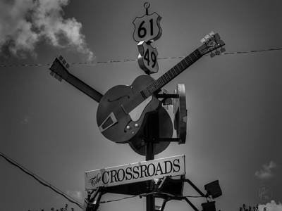 Guitar Photograph - Clarksdale - The Crossroads 001 Bw by Lance Vaughn