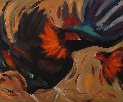 Clash - Rooster Painting Original by Khairzul MG