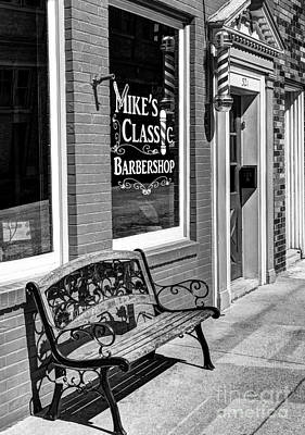 Window Bench Photograph - Classic Barbershop Bw by Mel Steinhauer