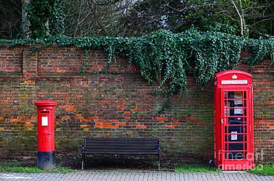 Mail Box Photograph - Classic British Pillar Box And Telephone Box by James Brunker