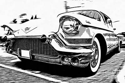 Graphic Drawing - Classic Cadillac by Edward Fielding