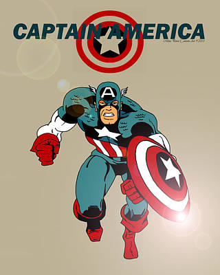 Classic Captain America Print by Mista Perez Cartoon Art