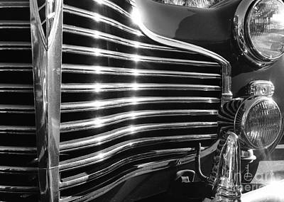 Classic Cars - 1941 Chevy Special Deluxe Business Coupe - Grille And Headlight - Black And White Print by Jason Freedman
