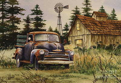 Old Trucks Painting - Classic Country by James Williamson