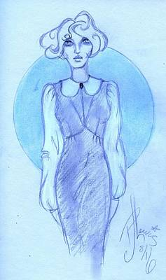Fashion Design Drawing - Classic Fitted Jumper by P J Lewis