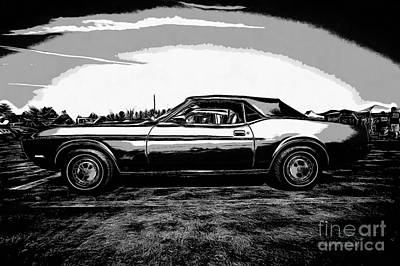 Graphic Drawing - Classic Ford Mustang by Edward Fielding