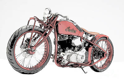 Transportation Drawing - Classic Indian Motorcycle Sketch by Pablo Franchi