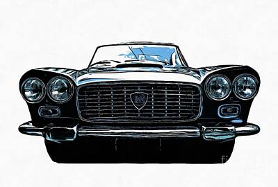 Novel Drawing - Classic Lancia by Edward Fielding