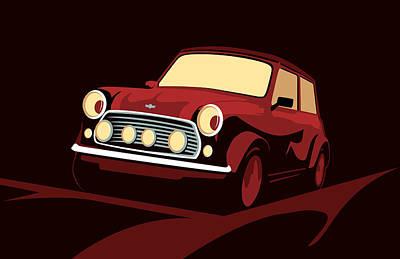 Classic Cars Digital Art - Classic Mini Cooper In Red by Michael Tompsett