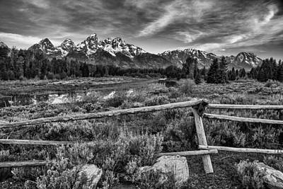 Black Metal Fence Photograph - Classic Tetons by Darren  White